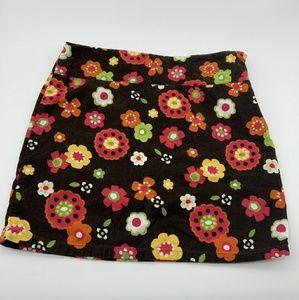 Gymboree Girl Skirt Winter Floral Brown Sz: 9